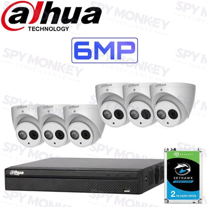 Dahua 8 Channel Security Kit: 8MP(4K Ultra HD) NVR, 6 X 6MP Turret Cameras, 2TB HDD