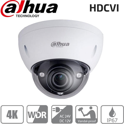 Dahua HAC-HDBW3802E-Z Security Camera: HDCVI 8MP VF Dome 3.7-11mm, IK10