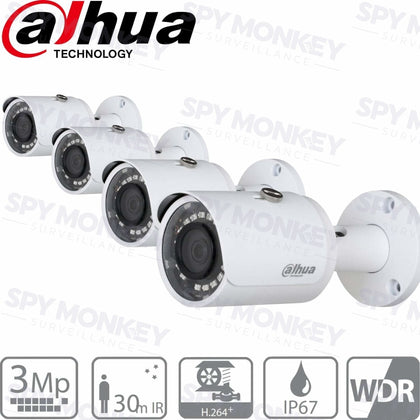 Dahua HFW1320SS3B4 Security Cameras: 3MP Mini-Bullet x 4