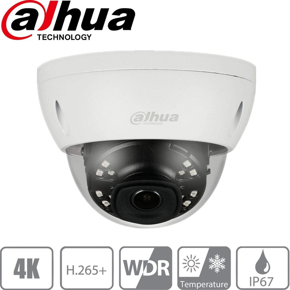 Dahua IPC-HDBW4831E-ASE Security Camera: 8MP(4K) Ultra HD Dome, H.265+, 2.8mm