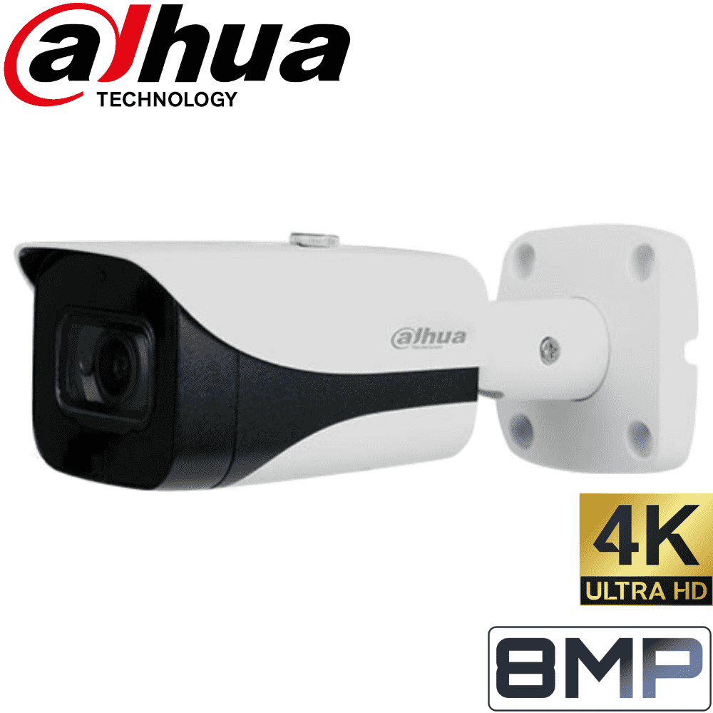 Dahua 8 Channel Security Camera: 8MP NVR, 8 X 8MP(4K Ultra HD) Bullet Cameras, 2TB HDD