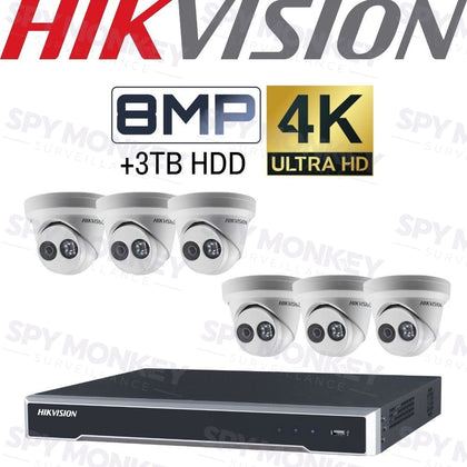 Hikvision 8 Channel Security Kit: 8MP NVR, 6 X 8MP (4K) Turret Cameras, 3TB HDD