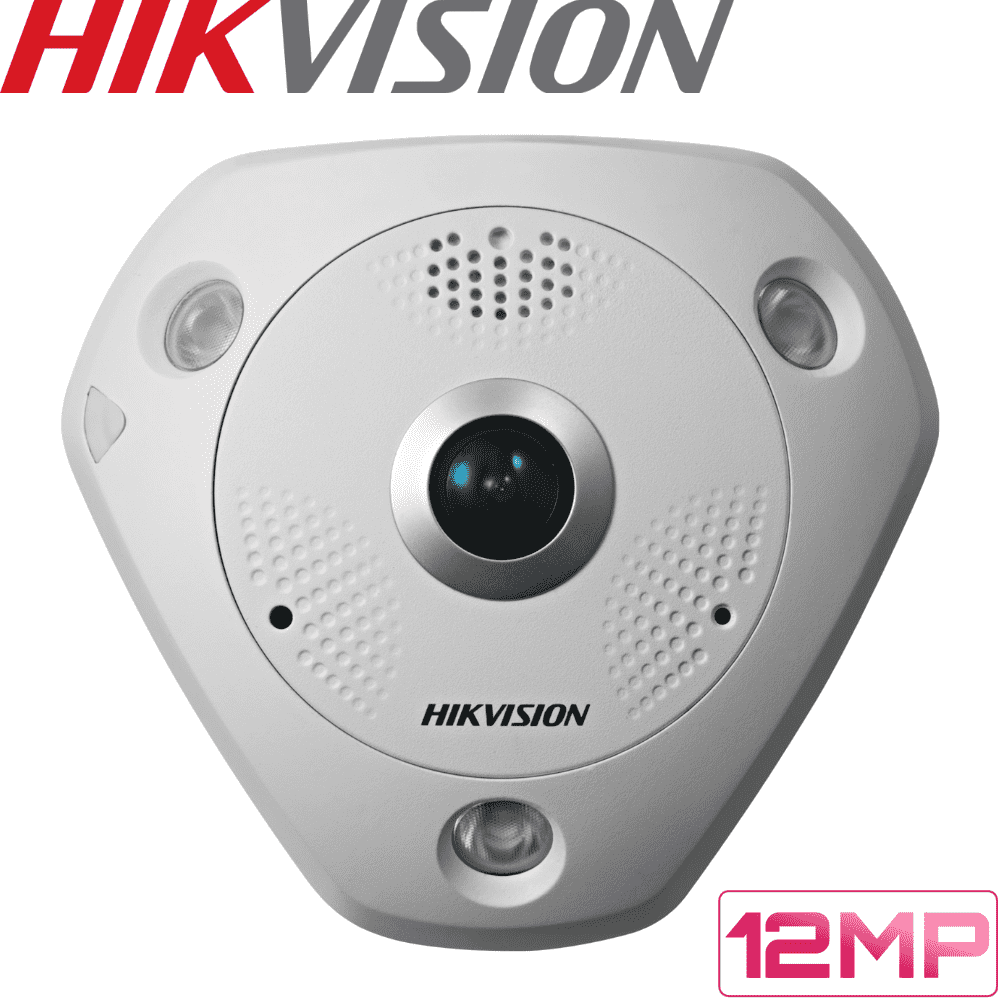 Hikvision DS-2CD63C2F-IV Security Camera: 12MP Fisheye 360 Panoramic, IK10