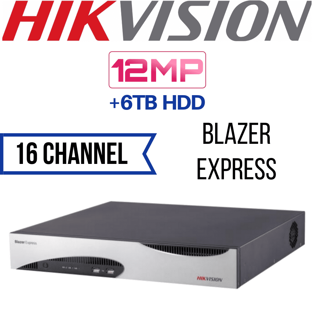 Hikvision BLAZEREXP-16P 16 Channel Network Video Recorder: 12MP Blazer Express iVMS Station