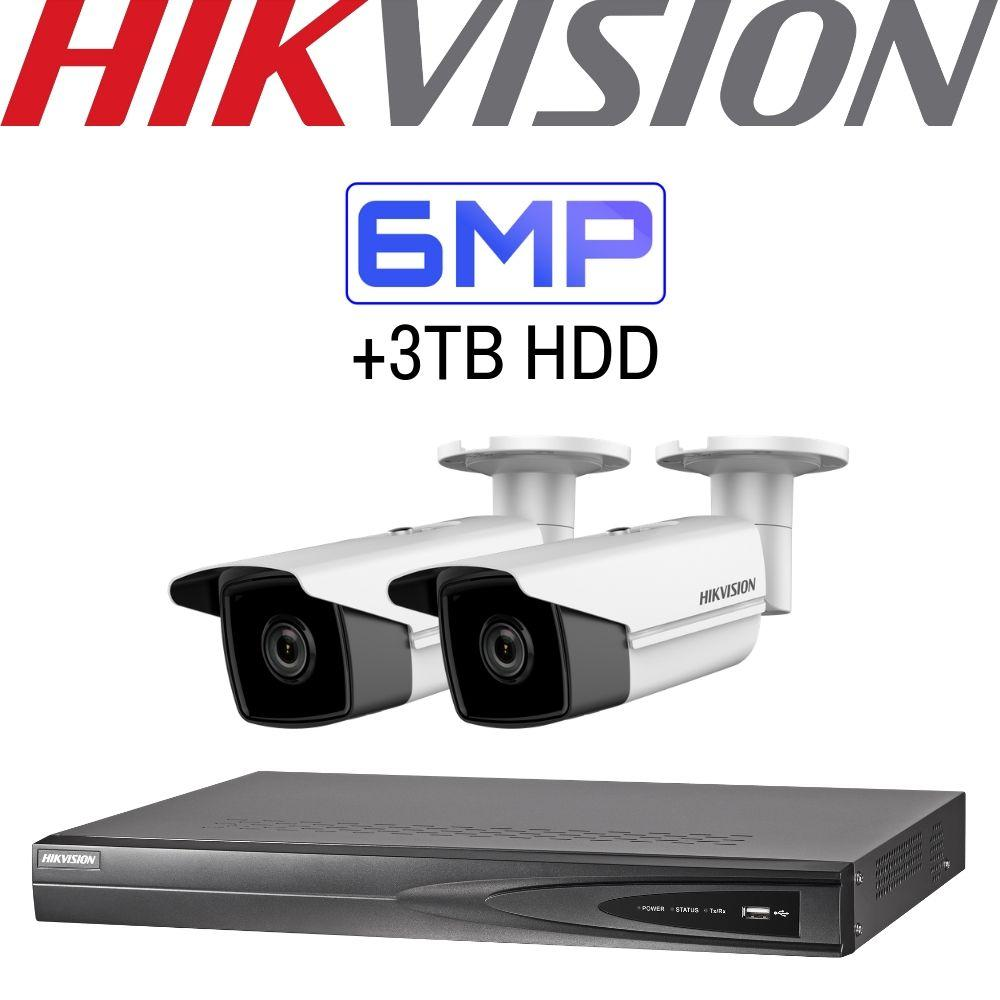 Hikvision 4 Channel Security Kit: 8MP(4K) NVR, 2 X 6MP Bullet Cameras, 3TB HDD