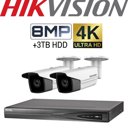 Hikvision 4 Channel Security Kit: 8MP (4K) NVR, 2 X 8MP Bullet Cameras, 3TB HDD
