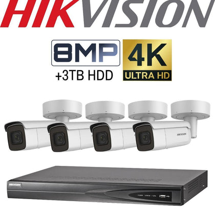 Hikvision 4 Channel Security Kit: 8MP (4K) NVR, 4 X 8MP Motorised VF Bullet Cameras, 3TB HDD