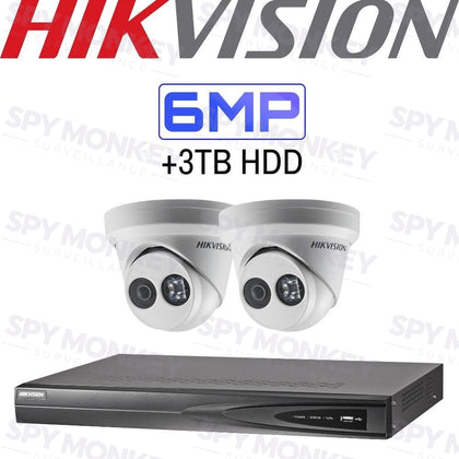Hikvision 4 Channel Security System: 4K NVR, 2 x 6MP Turret Cameras, 3TB HDD