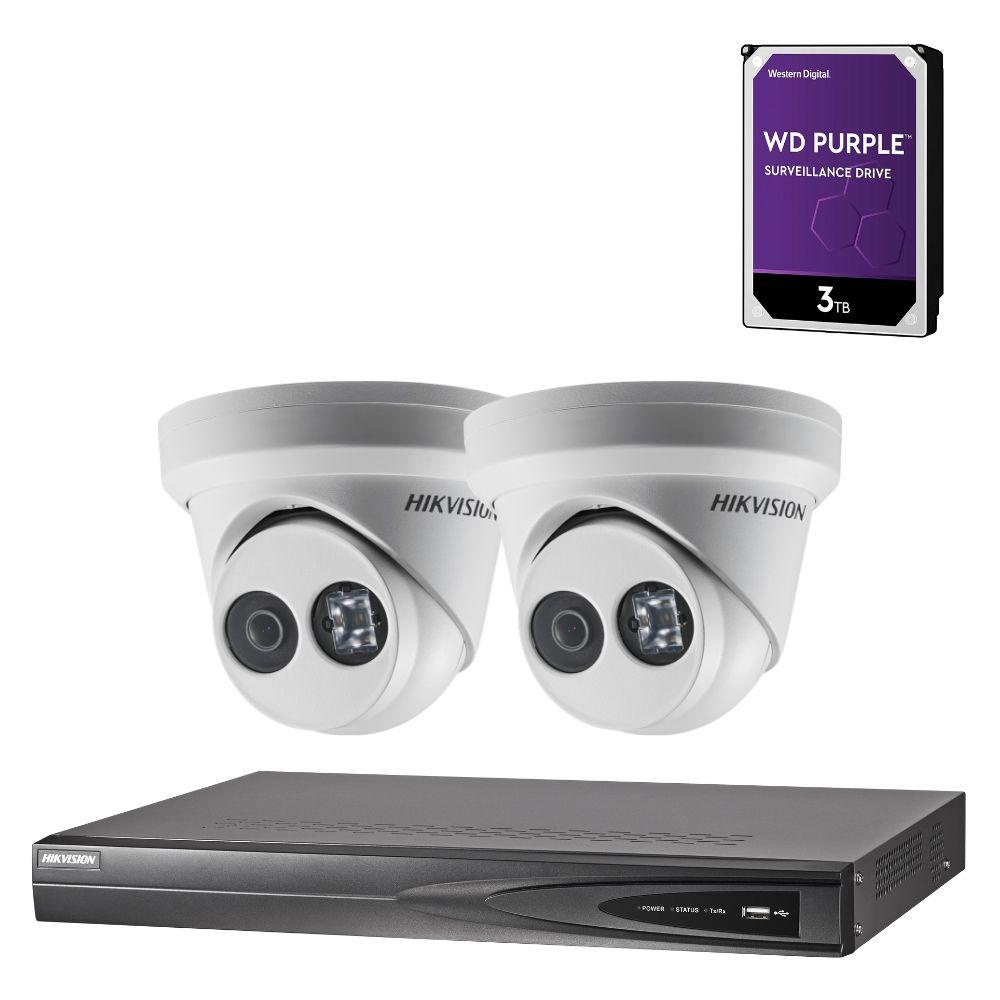 Hikvision 4 Channel Security System: 8MP NVR, 2 x 8MP(4K) Turret Cameras, 3TB HDD