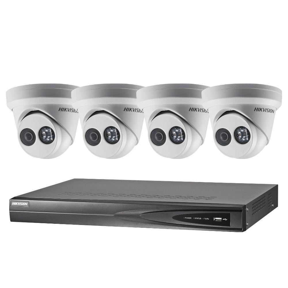 Hikvision 4 Channel Security System: 8MP NVR, 4 x 8MP (4K) Turret Cameras, 3TB HDD