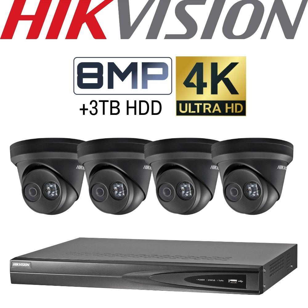 Hikvision 4 Channel Security System: 8MP NVR, 4 x 8MP Black Turret Cameras, 3TB HDD