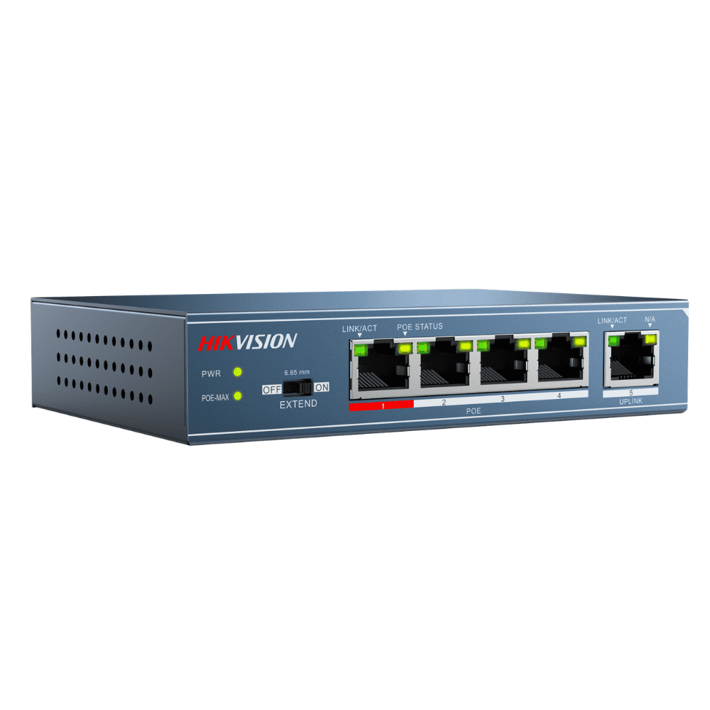 Hikvision Unmanaged Switch: 4 POE Ports, 100Mbps