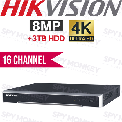 Hikvision 16 Channel Network Video Recorder: 8MP (4K) Ultra HD, 3TB HDD