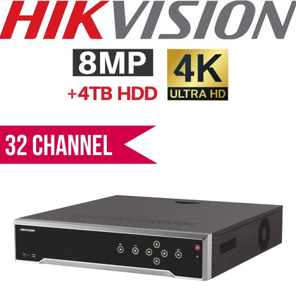 Hikvision HIK-DS-7632NI-K2/16P 32 Channel Network Video Recorder: 8MP (4K) Ultra HD