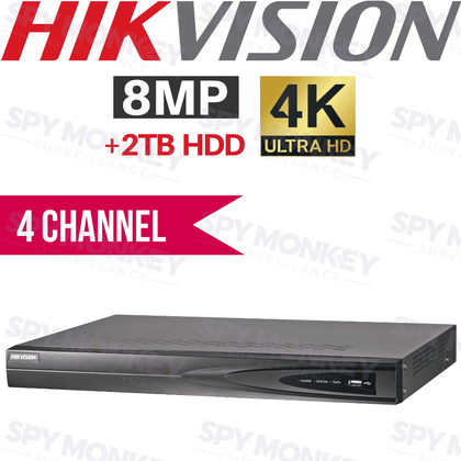 Hikvision 4 Channel Network Video Recorder: 8MP (4K) Ultra HD, 2TB HDD