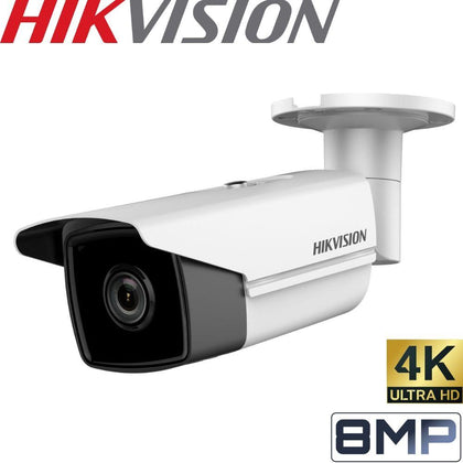 Hikvision DS-2CD2T85FWD-I5 Security Camera: 8MP (4K) Fixed Lens Bullet, IP67