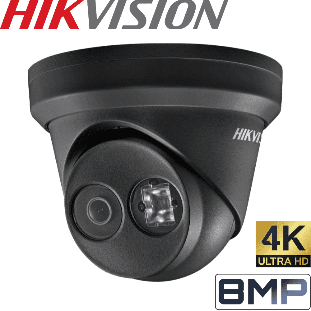 Hikvision 8 Channel Security Kit: 8MP NVR, 6 X 8MP (4K) Black Turret Cameras, 3TB HDD