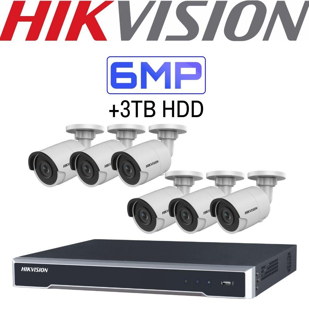 Hikvision 8 Channel Security System: 4K NVR, 6 x 6MP Bullet Cameras, 3TB HDD