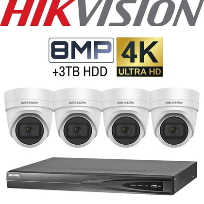 Hikvision 4 Channel Security Kit: 8MP (4K) NVR, 4 X 8MP VF Turret Cameras, 3TB HDD