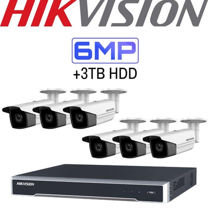 Hikvision 8 Channel Security Kit: 8MP(4K) NVR, 6 X 6MP Bullet Cameras, 3TB HDD