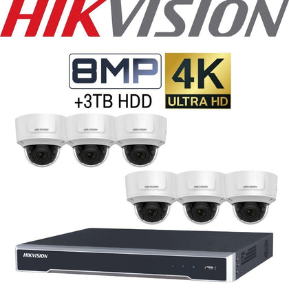 Hikvision 8 Channel Security Kit: 8MP NVR, 6 X 8MP (4K) VF Dome Cameras, 3TB HDD