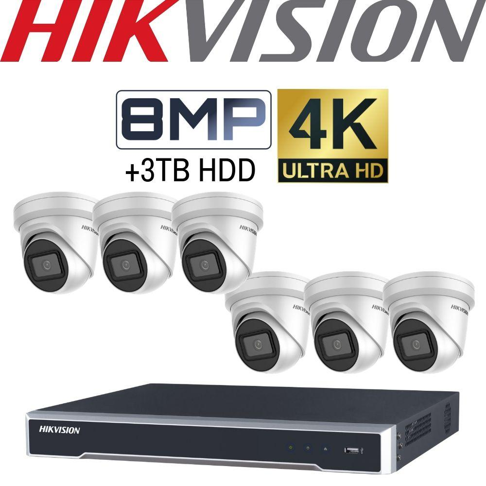 Hikvision 8 Channel Security Kit: 8MP (4K) NVR, 6 X 8MP VF Turret Cameras, 3TB HDD