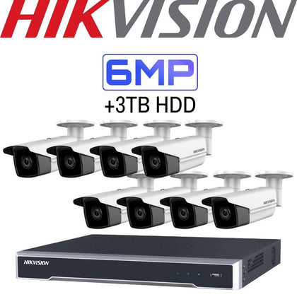 Hikvision 8 Channel Security Kit: 8MP(4K) NVR, 8 X 6MP Bullet Cameras, 3TB HDD