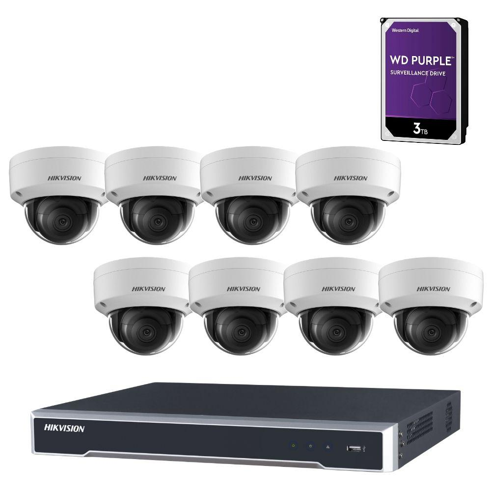 Hikvision 8 Channel Security Kit: 8MP (4K) NVR, 8 X 8MP Dome Cameras, 3TB HDD