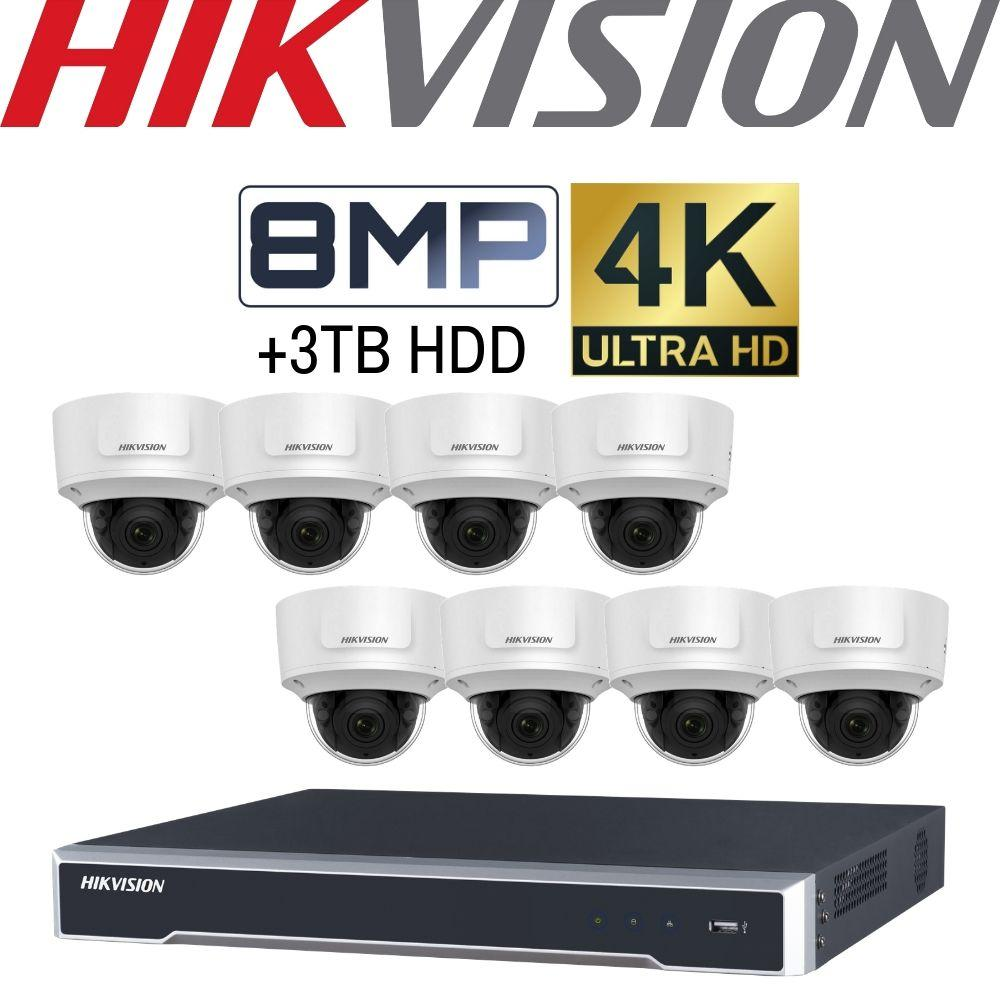 Hikvision 8 Channel Security Kit: 8MP NVR, 8 X 8MP (4K) VF Dome Cameras, 3TB HDD