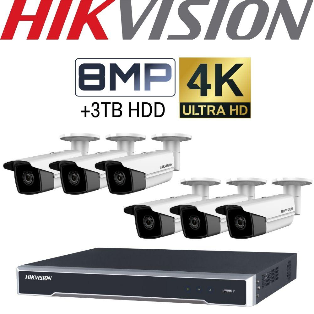 Hikvision 8 Channel Security Kit: 8MP NVR, 6 X 8MP 4K Bullet Cameras, 3TB HDD