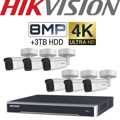 Hikvision 8 Channel Security Kit: 8MP NVR, 6 X 8MP Motorised VF Bullet Cameras, 3TB HDD