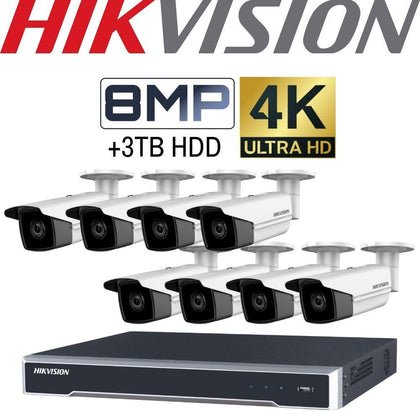 Hikvision 8 Channel Security Kit: 8MP NVR, 8 X 8MP(4K) Bullet Cameras, 3TB HDD