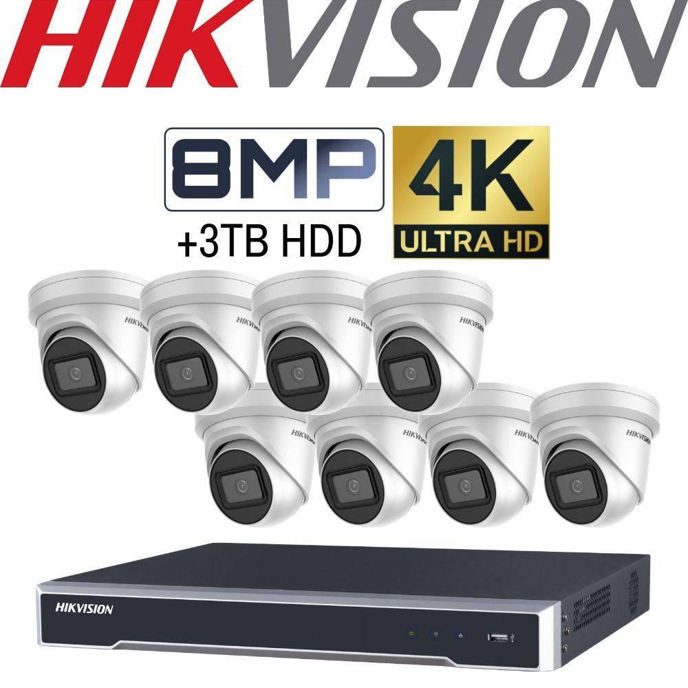 Hikvision 8 Channel Security Kit: 8MP NVR, 8 X 8MP(4K) VF Turret Cameras, 3TB HDD