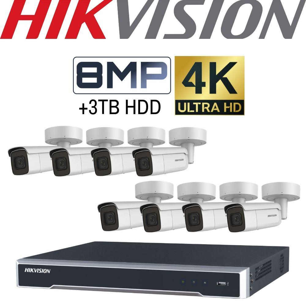 Hikvision 8 Channel Security Kit: 8MP NVR, 8 X 8MP Motorised VF Bullet Cameras, 3TB HDD