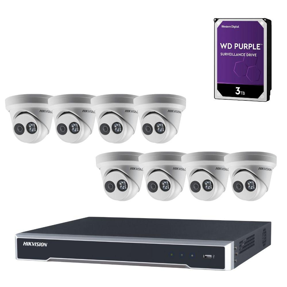 Hikvision 8 Channel Security System: 4K NVR, 8 x 6MP Turret Cameras, 3TB HDD
