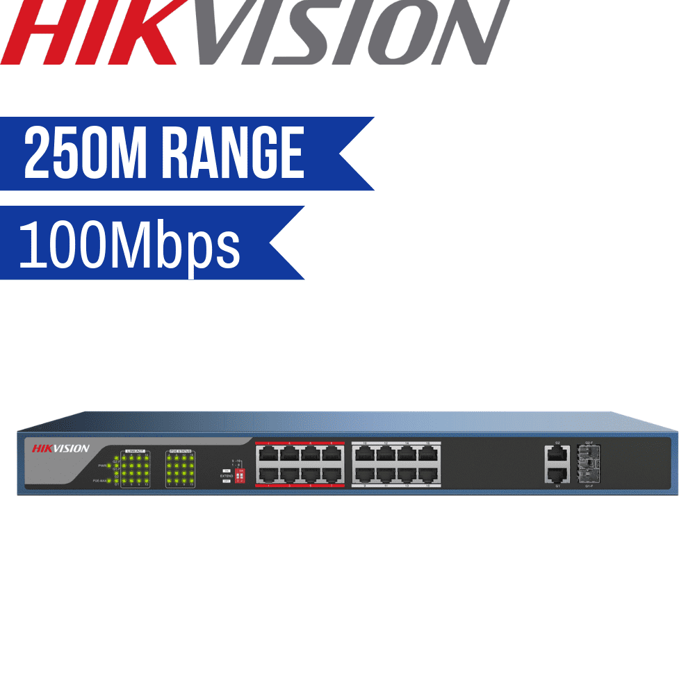 Hikvision Unmanaged Switch: 16 POE Ports, 100Mbps