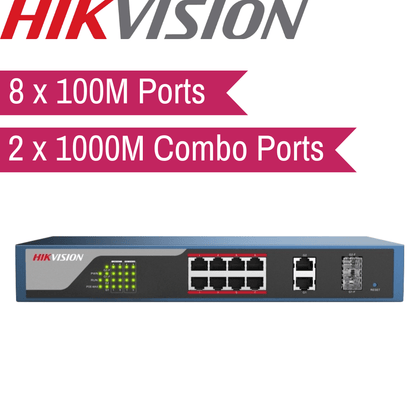Hikvision Web-Managed PoE Switch: 8x100M, 2x1000M Combo Port