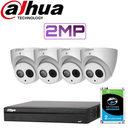 Dahua 4 Channel Security Kit: 8MP(4K Ultra HD) NVR, 4 X 2MP Turret Cameras, 2TB HDD