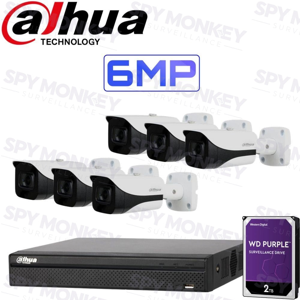 Dahua 8 Channel Security Kit: 8MP(4K Ultra HD) NVR, 6 X 6MP Bullet Cameras, 2TB HDD
