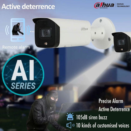 Dahua IPC-HFW5541T-ASE Security Camera: 5MP Fixed Bullet, Active Deterrence, AI Series