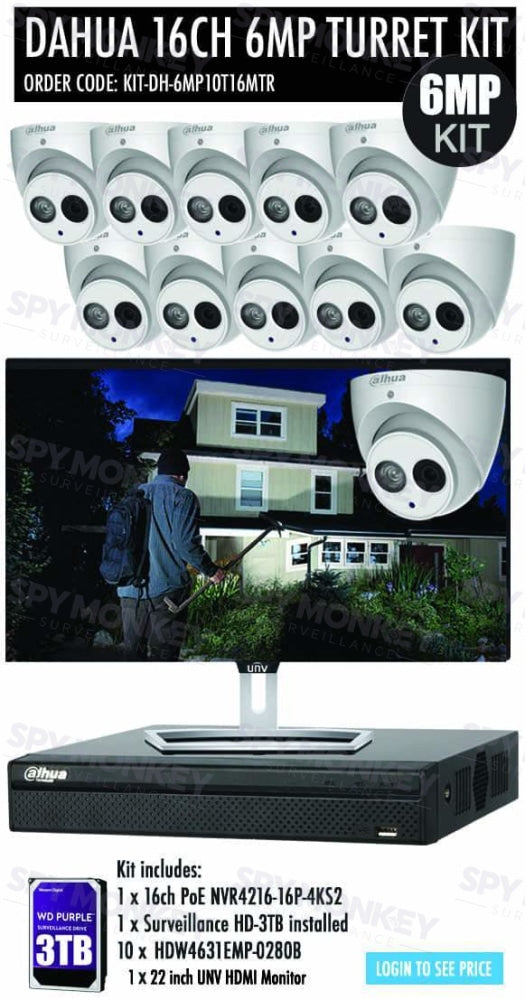 Dahua 16 Channel Security Kit: 8MP(4K) NVR, 10 X 6MP Turret Cameras, 3TB HDD + Monitor