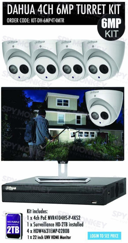 Dahua 4 Channel Security Kit: 8MP(4K) NVR, 4 X 6MP Turret Cameras, 2TB HDD + Monitor