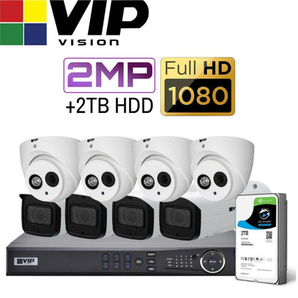 VIP Vision Pro 8 Channel Security Kit: 12MP NVR, 4 X 2MP Bullet, 4 X 2MP Turret, 2TB HDD
