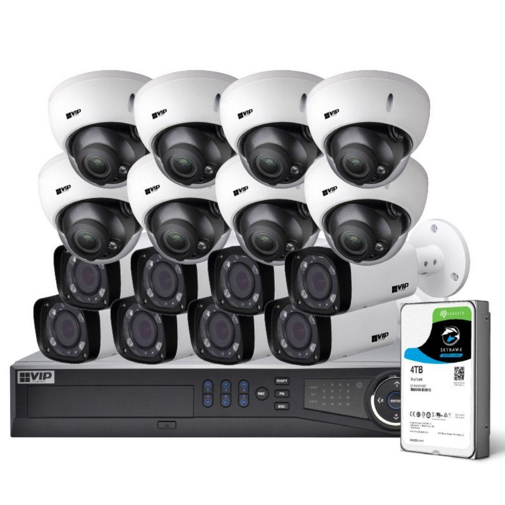 VIP Vision Pro 16 Channel Security Kit: 12MP NVR, 8 X 4MP VF Bullet, 8 X 4MP VF Dome, 4TB HDD