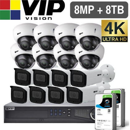 VIP Vision Pro 16 Channel Security Kit: 12MP NVR, 8 X 8MP VF Bullet, 8 X 8MP VF Dome, 8TB HDD