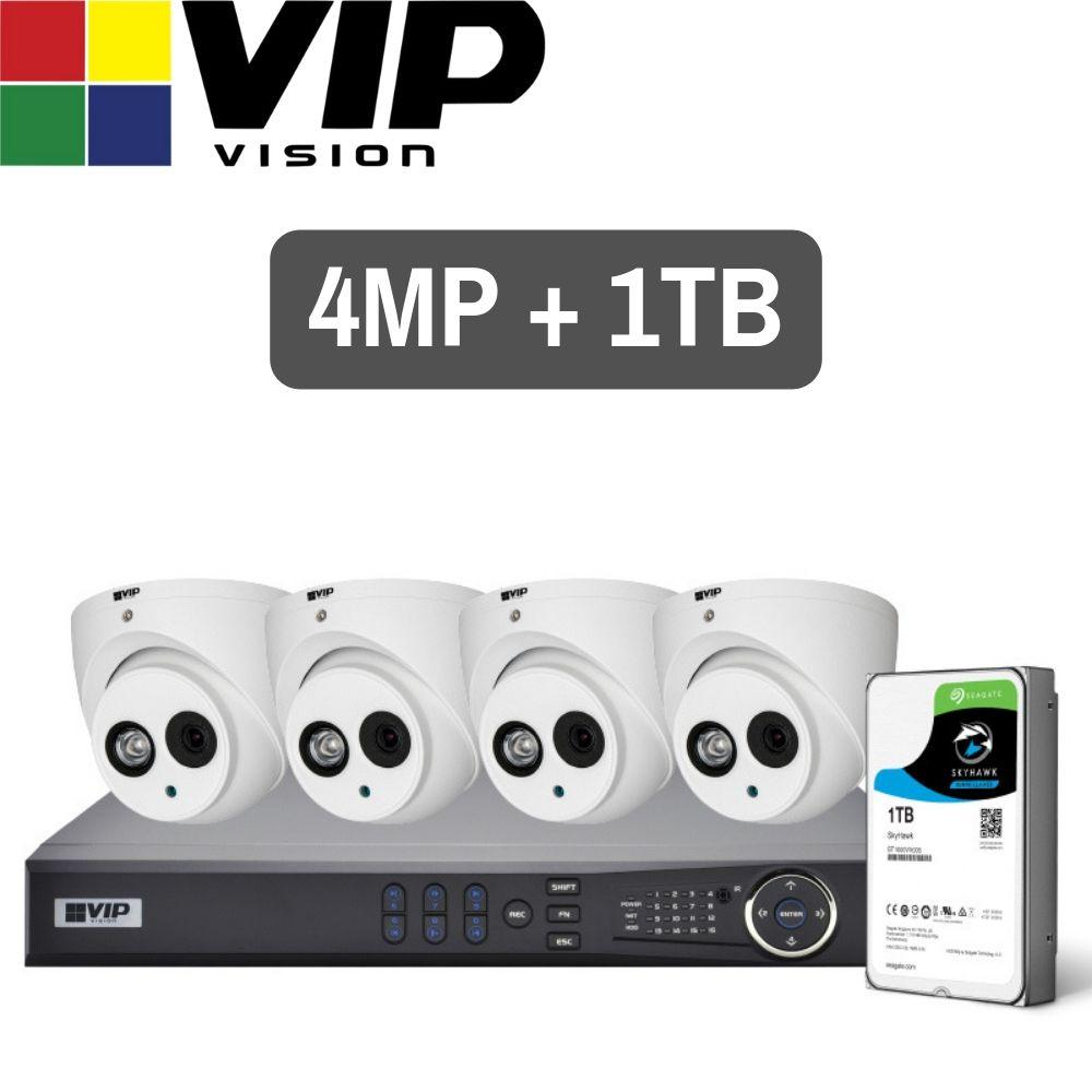 VIP Vision Pro 4 Channel Security Kit: 8MP NVR, 4 X 4MP Turret Cameras, 1TB HDD