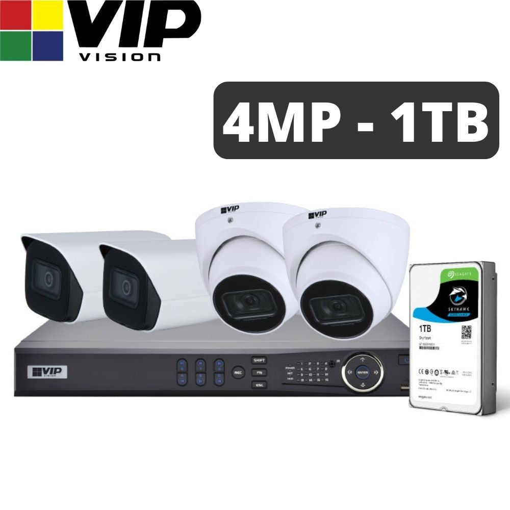 VIP Vision 4-Channel Security Kit: 8MP NVR, 4 X 4MP Fixed Bullet/Turret, Professional Series