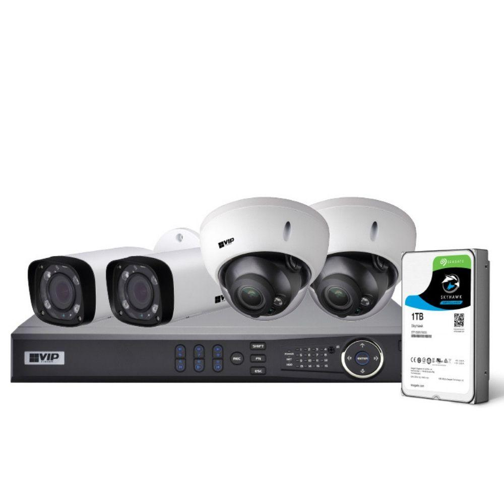 VIP Vision Pro 4 Channel Security Kit: 8MP NVR, 2 X 4MP VF Bullet, 2 X 4MP VF Dome, 1TB HDD