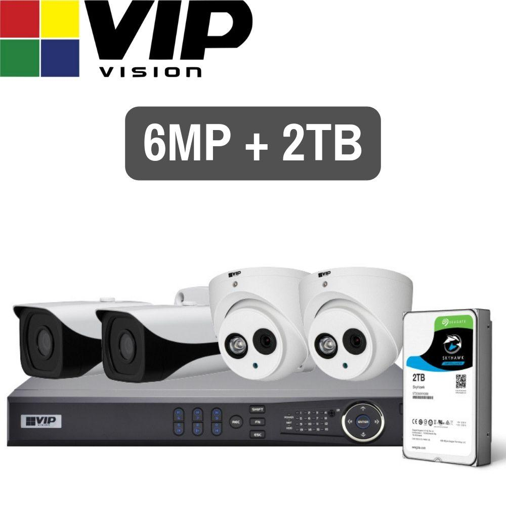 VIP Vision Pro 4 Channel Security Kit: 8MP NVR, 2 X 6MP Bullet, 2 X 6MP Dome, 2TB HDD