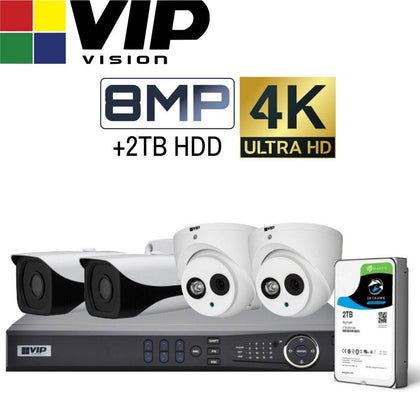 VIP Vision Pro 4 Channel Security Kit: 8MP NVR, 2 X 8MP Bullet, 2 X 8MP Turret, 2TB HDD